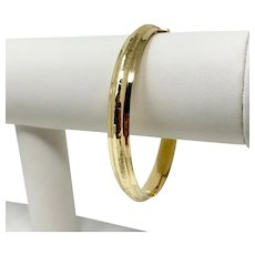 14k Yellow Gold Polished Hammered Texture Bangle Bracelet 7.5 Inches