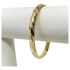 14k Yellow Gold Satin Finish Etched Diamond Cut Bangle Bracelet 7 Inches