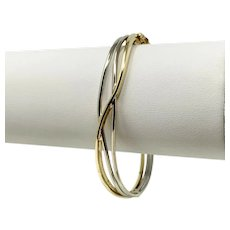 14k Yellow and White Gold Two Tone Fancy Wire Bangle Bracelet Italy 6.5""