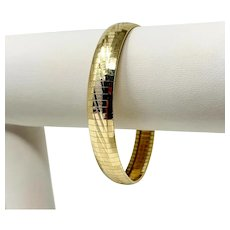 """14k Yellow Gold Flexible Etched Omega Link Bracelet Aurafin Italy 7.25"""""""