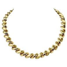 """14k Yellow Gold Heavy 56g Polished Brushed San Marco Macaroni Link Necklace 18"""""""