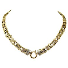 14k Yellow Gold and Diamond Byzantine Link Chain Necklace Italy 17 Inches