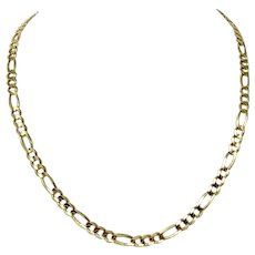 """14k Yellow Gold Solid 24g Figaro Link 5.5mm Chain Necklace Italy 21.5"""""""