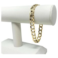 14k Yellow White Gold Two Tone Diamond Cut Hollow Curb Link Bracelet 8""