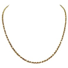 14k Yellow Gold 16.6g Solid Rope 3mm Chain Necklace Italy 18.5 Inches
