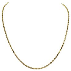 """14k Yellow Gold 9.5g Solid Rope Diamond Cut 2.5mm Chain Necklace 20.5"""""""