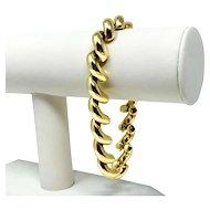 "14k Yellow Gold 31.4g Polished San Marco Macaroni Link Bracelet Italy 8.5"""