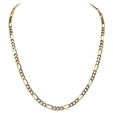 """14k Yellow Gold Hollow 5.5mm Figaro Link Chain Necklace Milor Italy 25.5"""""""