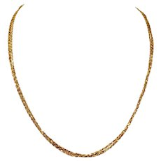 """18k Yellow Gold Triple Strand Diamond Cut Link Chain Necklace Milor Italy 22"""""""