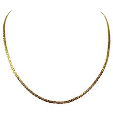 """18k Yellow Gold Flat Braided Weave Serpentine Link Chain Necklace Italy 20"""""""