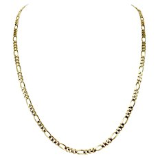 14k Yellow Gold 21g Solid Figaro Link 4.5mm Chain Necklace 24 Inches