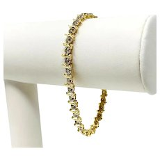14k Yellow Gold 1.14ct S Link Diamond Tennis Bracelet 7 Inches