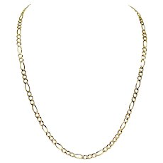 10k Yellow Gold 5.5mm Figaro Link 18g Chain Necklace Italy 26""
