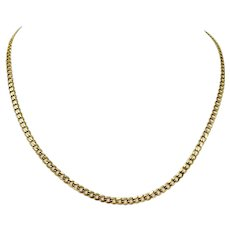 10k Yellow Gold 3mm Curb Link Chain Necklace 18 Inches
