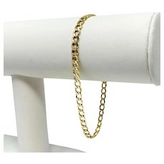 10k Yellow Gold 4mm Hollow Curb Link Chain Bracelet 7.75 Inches