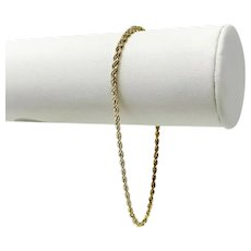 10k Yellow Gold Hollow 2.5mm Diamond Cut Rope Chain Bracelet 8.5""