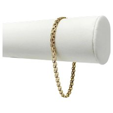 14k Yellow Gold 4mm Bismark Link Chain Bracelet 7.5 Inches