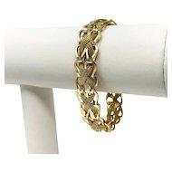 14k Yellow Gold 14.4g Fancy Mesh Weave 13mm Link Bracelet 7 Inches