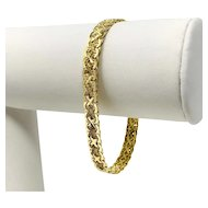 14k Fine Yellow Gold 13.8g Fancy Link 6mm Aurafin Bracelet Italy 7 Inches