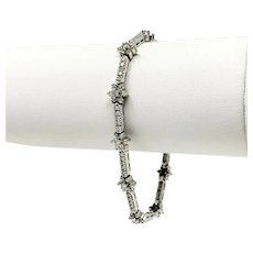 14k White Gold and 3.22ct Diamond Floral Link Bracelet 7 Inches