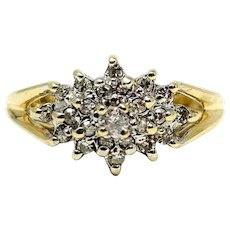 14k Yellow Gold .29ct Diamond Cluster Floral Ring Size 6