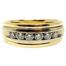14k Yellow Gold and .6ct Diamond Wedding Band Ring Size 7
