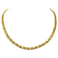 """14k Yellow Gold 5.5mm Byzantine Link Heavy 21.5g Chain Necklace Italy 18"""""""