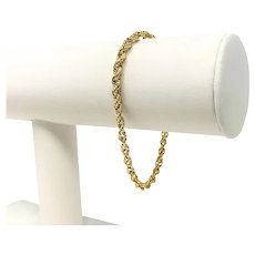 14k Yellow Gold Solid 7.3g Rope Chain 3.5mm Bracelet 7 Inches