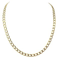 """10k Yellow White Gold Two Tone Diamond Cut Curb Link Chain Necklace Italy 23"""""""