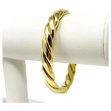 "18k Yellow Gold Heavy 31.4g Spiral Twist Bangle Bracelet Italy 7"""