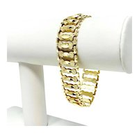 "14k Yellow Gold Wide 17mm Ladies Fancy Link Aurafin Bracelet Italy 7.5"""