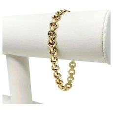 14k Yellow Gold Ladies Fancy Link Chain Bracelet Italy 7 Inches