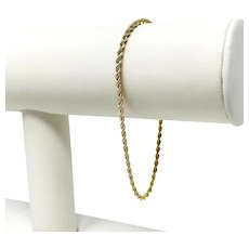 18k Yellow Gold Thin Light 2mm Rope Chain Bracelet Italy 7.5 Inches