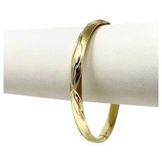 """14k Yellow Gold Ladies Satin and Polished Finished Bangle Bracelet 7"""""""