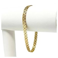 14k Yellow Gold Ladies Fancy X Link Chain Bracelet Italy 7.5 Inches