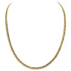 18k Yellow Gold 15.4g Hollow Cuban Curb Link 4.5mm Chain Necklace Italy 24""