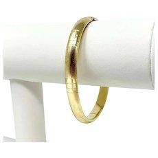 """14k Yellow Gold Ladies Satin and Polish Finished Bangle Bracelet 7"""""""
