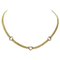 10k Yellow Gold Hollow Braided Rope with Hearts Chain Necklace 17 Inches