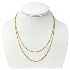 14k Yellow Gold Long Thin 1.5mm Diamond Cut Rope Chain Necklace 36""