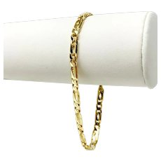 """18k Yellow Gold Solid Fancy Figaro Figarucci Link Chain Bracelet Italy 8"""""""