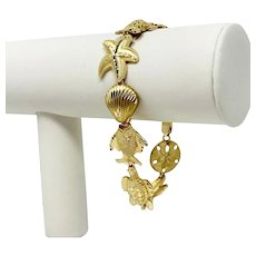 "14k Yellow Gold Diamond Cut Beach Ocean Shell Charm Link Bracelet 8"""