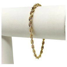 14k Yellow Gold Hollow 3.5mm Diamond Cut Michael Anthony Rope Bracelet 7""