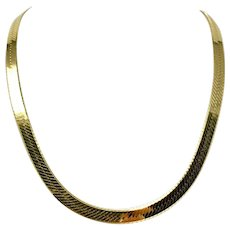 14k Yellow Gold 55.2g Heavy Thick 8mm Herringbone Link Chain Necklace Italy 24""