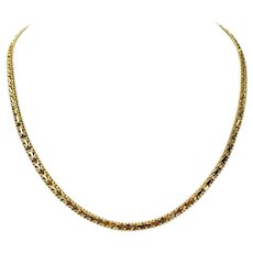 14k Yellow Gold 22.9g Ladies Beaded Foxtail Link Chain Necklace Mexico 20""
