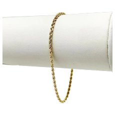 14k Yellow Gold Hollow Thin 2mm Diamond Cut Rope Chain Bracelet 7""