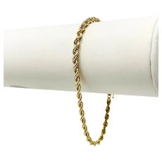 14k Yellow Gold Hollow 3mm Rope Chain Michael Anthony Bracelet 7.25""