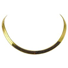14k Yellow Gold 24g Heavy Ladies Collar Choker Herringbone Necklace Italy 16""