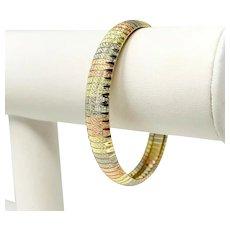 "14k Yellow Rose White Gold Tri Tone Omega Link Chain Bracelet Milor Italy 7.25"""