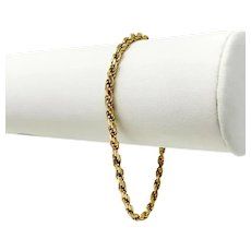 """14k Yellow Gold 7.7g Solid 3mm Rope Chain Bracelet Italy 7"""""""