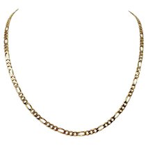 """14k Yellow Gold 18g Solid 4mm Figaro Link Chain Necklace 21"""""""